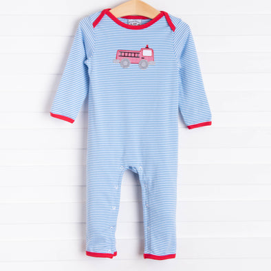 Three Sisters Firetruck Applique Romper, Blue Stripe