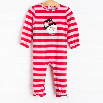 Three Sisters Frosty Applique Girls Romper, Red Stripe