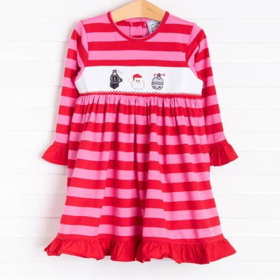 Three Sisters Santa Express! Smocked Dress, Red Stripe