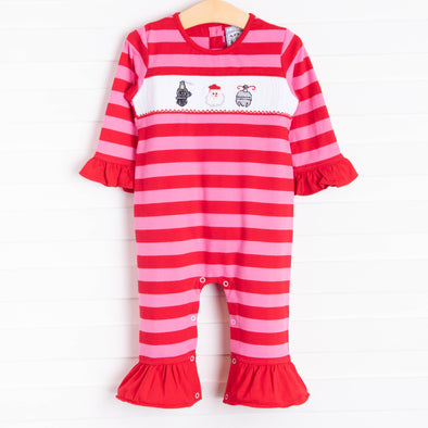 Three Sisters Santa Express! Smocked Romper, Red Stripe