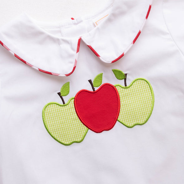 Apples to Apples Applique Short Set, Red Check