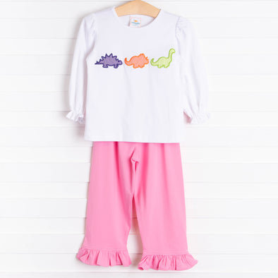 Dino Friends Ruffle Pant Set, Pink