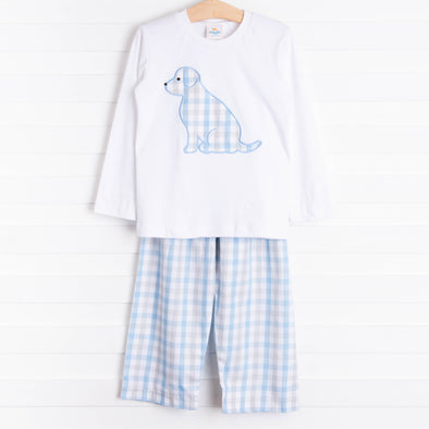 Pawcious Pant Set, Blue Plaid
