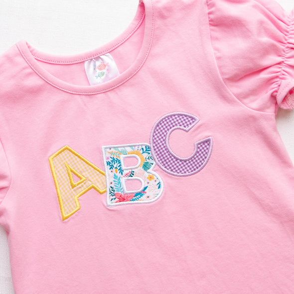 ABC Applique Bloomer Set, Pink