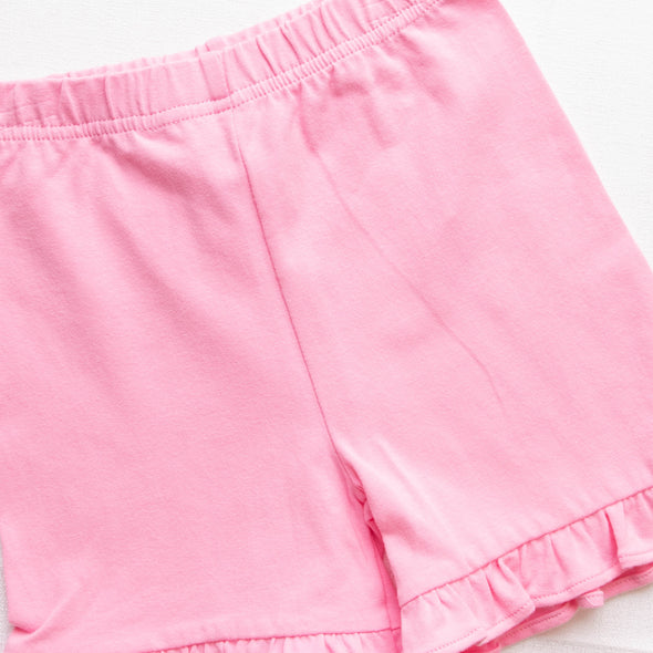 Ready To Learn Applique Ruffle Short Set, Pink