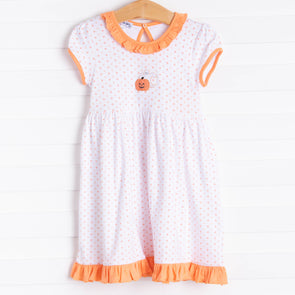 Magnolia Baby My Little Boo Embroidered Toddler Dress, Orange