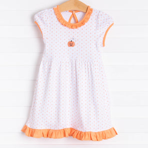 Magnolia Baby My Little Boo Embroidered Dress Set, Orange