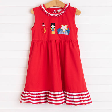 Warrior Princess Applique Dress, Red