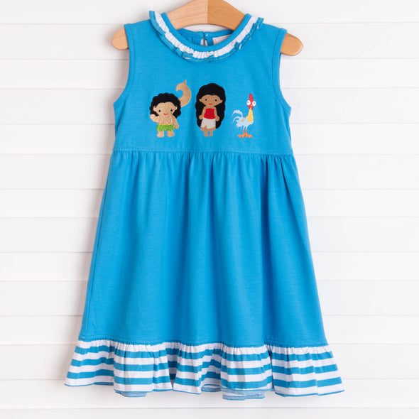 Island Princess Applique Dress, Blue