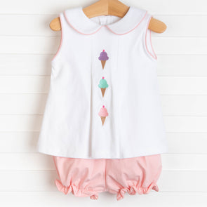 Triple Scoop Embroidered Bloomer Set, Pink