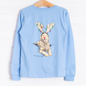 Properly Tied Golden Holiday Long Sleeve Shirt, Sky Blue