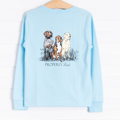 Properly Tied Triple Dog Long Sleeve Shirt, Powder Blue