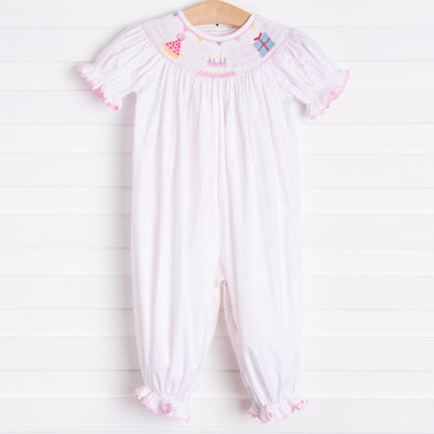 Birthday Smocked Romper, Pink Bitty Dot