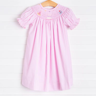 Birthday Smocked Dress, Pink