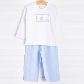 Birthday Smocked Pant Set, Blue Gingham