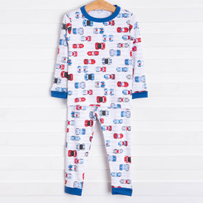 Magnolia Baby Vroom Vroom Long Pajama, Blue