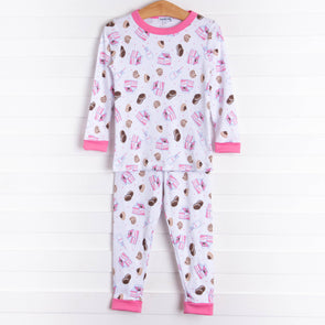 Magnolia Baby Cookies and Milk Long Pajama, Pink