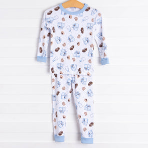 Magnolia Baby Cookies and Milk Long Pajama, Blue