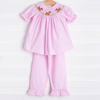 Puppy Smocked Ruffle Pant Set, Pink