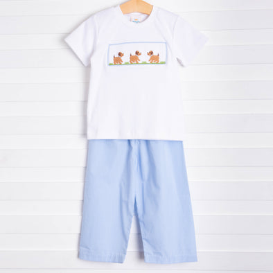 Puppy Smocked Pant Set, Blue