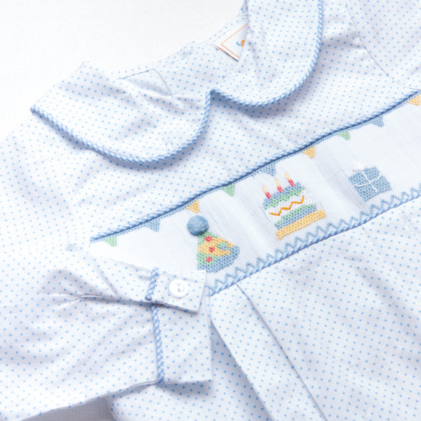 Birthday Smocked Bubble, Blue Bitty Dot