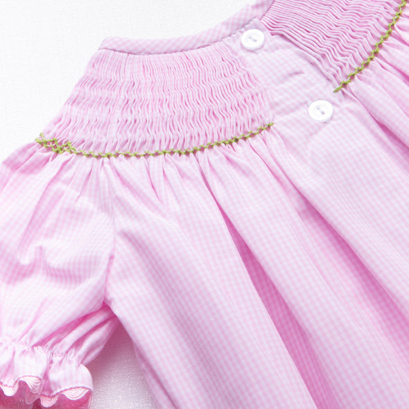 Puppy Smocked Ruffle Romper, Pink