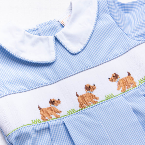 Puppy Smocked Romper, Blue