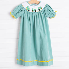 Tractor Smocked Dress, Green