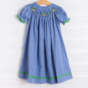 Mallard Smocked Dress, Royal Blue Gingham