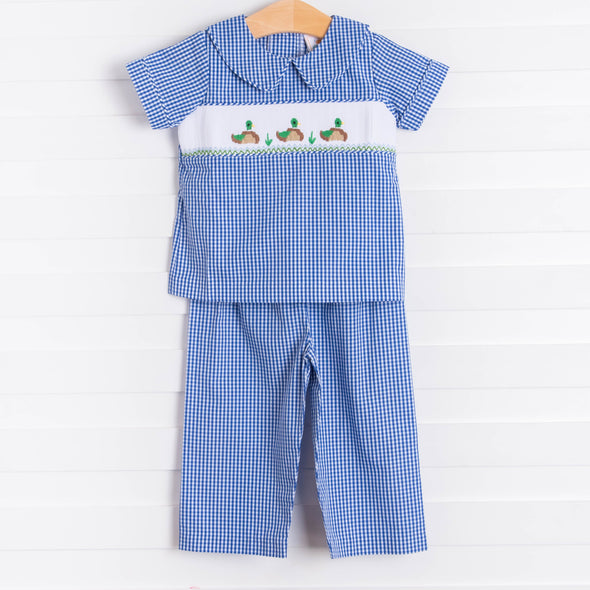 Little Mallard Smocked Pant Set, Royal Blue Gingham
