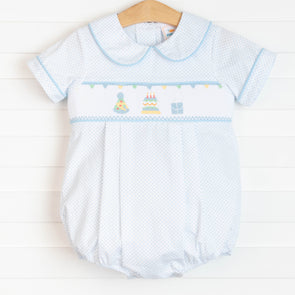 Birthday Wish Smocked Boy Bubble, Blue