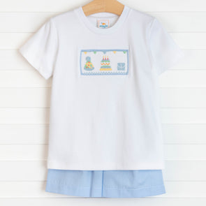 Birthday Wish Smocked Short Set, Blue
