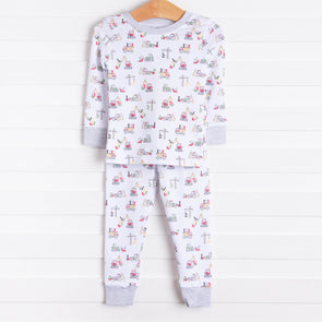 Kissy Kissy Construction Pajama Set, White