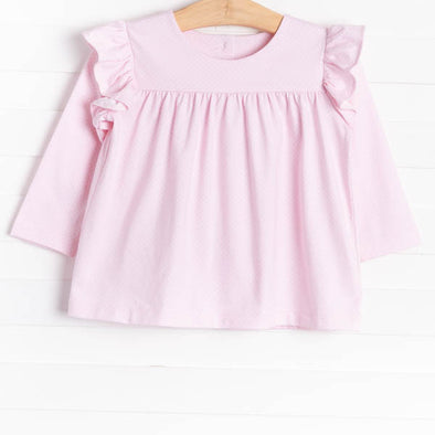 Felicity Flutter Top, Light Pink w/Bitty Dot