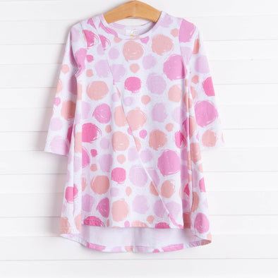 Pretty Polka Dots Dress, Pink Long Sleeve