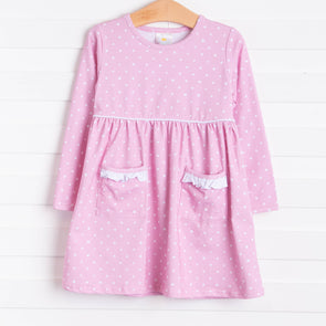 Josie Dress, Pink Bitty Dot