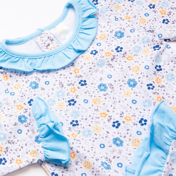 Rylie Romper, Blue and Yellow Floral