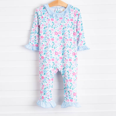 Rylie Romper, Light  Blue Floral