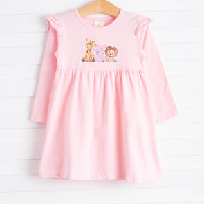Safari Trio Embroidered Dress, Pink