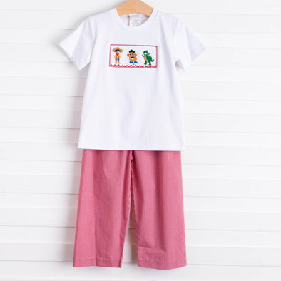 Story Time Friends Smocked Pant Set, Red Gingham