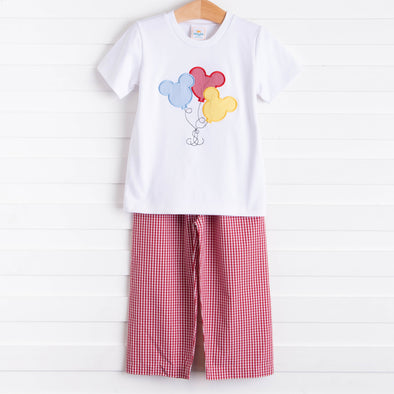 Mouse In The House Applique Pant Set, Red
