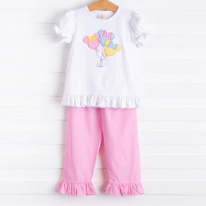 Mouse In The House Ruffle Pant Set, Pink