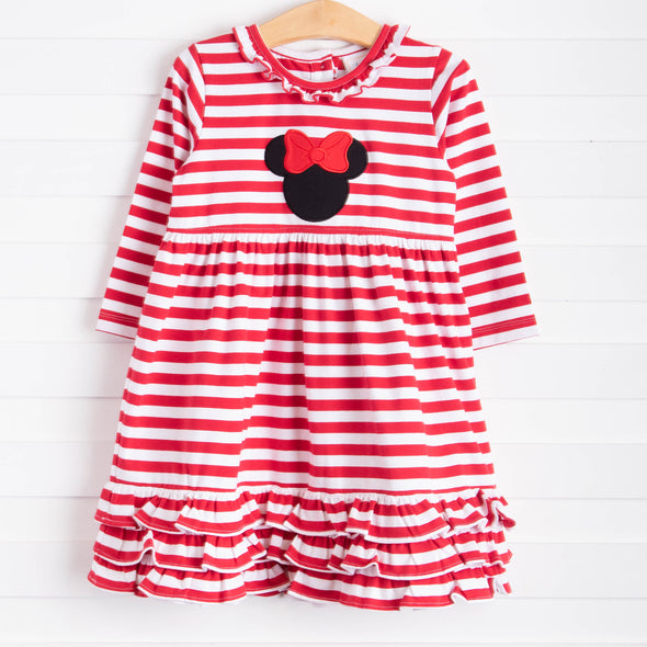 Miss Mouse Applique Long Sleeve Dress, Red