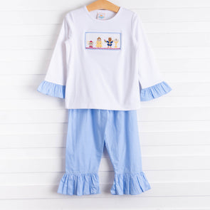 Enchanted Princess Smocked Tunic Set, Blue