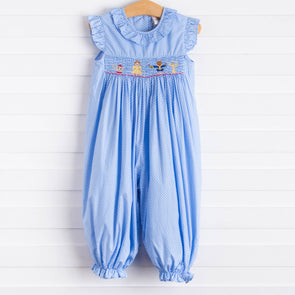 Enchanted Princess Smocked Long Romper, Blue