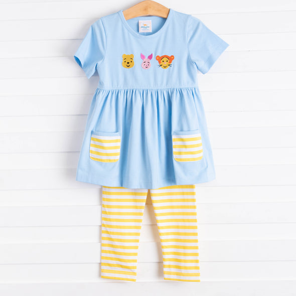 Fun Friends Embroidered Tunic Set, Light Blue