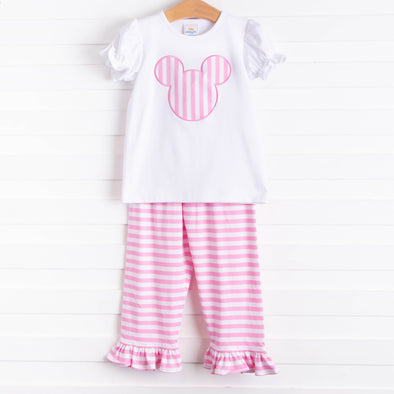 Miss Mouse Applique Ruffle Pant Set, Pink Stripe