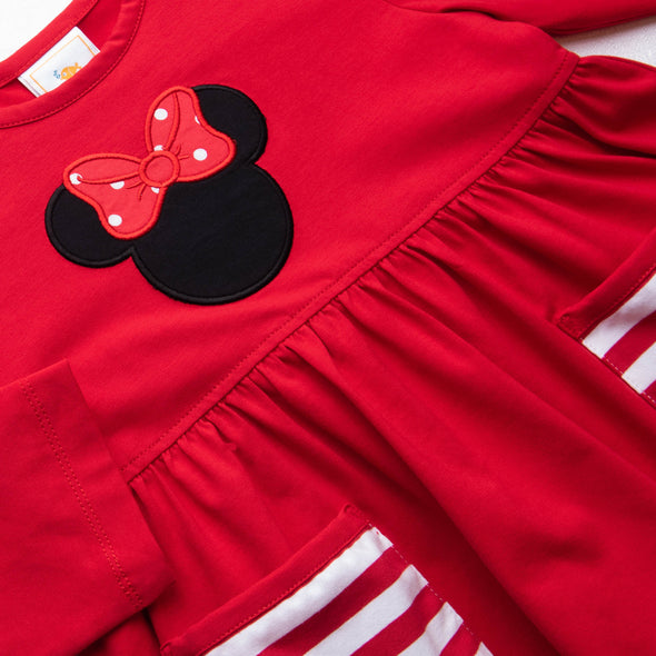 Magical Mouse Applique Ruffle Tunic Pant Set, Red