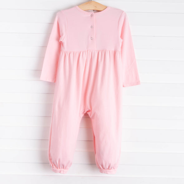 Safari Trio Embroidered Romper, Pink