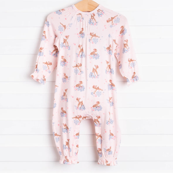 Angel Dear Woodland Deer Ruffle Sleeve Romper, Pink